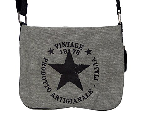 Coole Canvas Style Umhängetasche - Vintage Stern - Vernietung an der Seite - umlaufender Reißverschluß - Damen Mädchen Teenager Tasche Hellgrau
