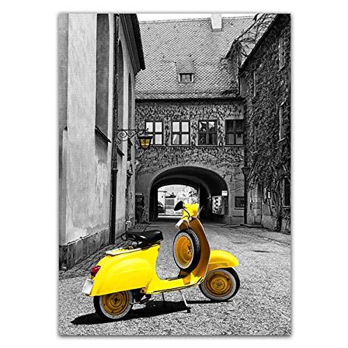 Geiqianjiumai Leinwand Poster Bild wandkunst malerei wohnkultur Moderne schwarz-weiß Stadt gebäude mit Regenschirm gelb Bild Motorrad rahmenlose malerei Kern 1 40x50 cm