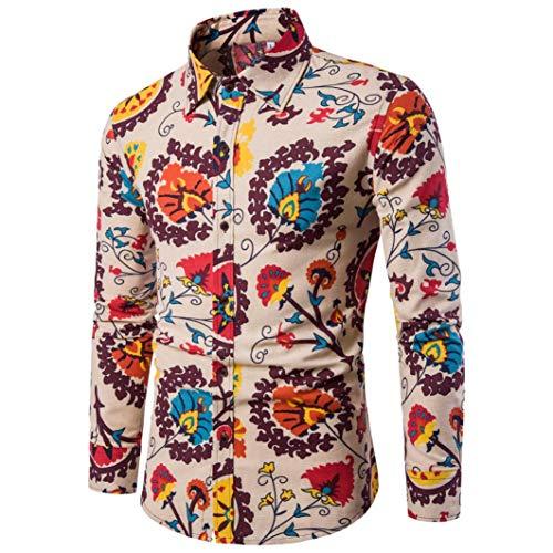 POLPqeD Uomo Camicia Mens Casual Manica Lunga Business Slim Fit Camicia Stampa Camicetta Top