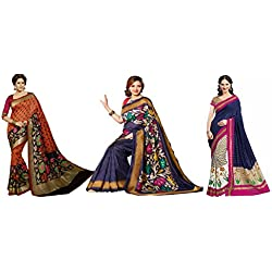 DivyaEmporio Women's Art Silk Bhagalpuri Saree Combo of 3 Sarees