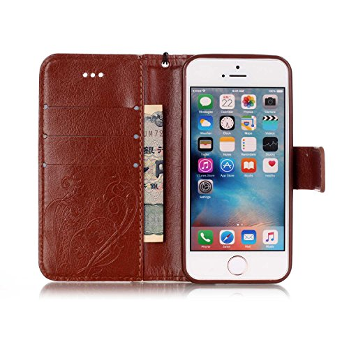 iPhone 5S/5 Custodia in Pelle Portafoglio Cover Per iPhone SE Custodia, JAWSEU Lusso 3D Modello Puro Colore PU Leather Folio Case Cover per iPhone 5/5S/SE Custodia Cover con Super Sottile Morbido Sili Fiore, Marrone