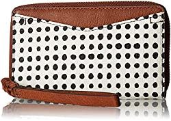 Fossil Caroline Rfid Smartphone Zip Around Wallet White with Black, Dot Print Polyvinyl Chloride