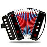 Acordeón negro, NASUM Mini Pequeño Acordeón del botón 10-Key Instrumento Musical Educativo Juguete de Rhythm Band para Niños