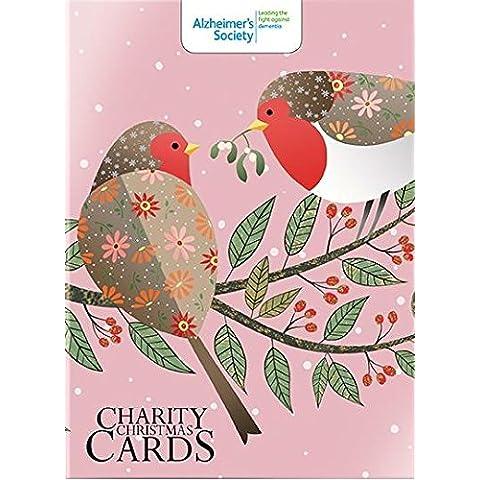 Biglietti di Natale di beneficenza, ALM6863), motivo: pettirossi %2FPretty Partridge-Scatola da 12 Biglietti, venduto a sostegno di Alzheimer