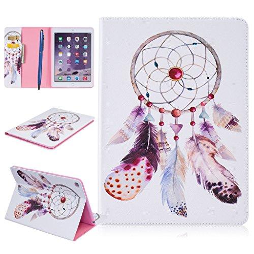CareyNoce iPad Air 2 Funda,Diente de león,Mar,Mariposa,Flor,Pattern PU Cuero Cover Stand Flip Funda Carcasas para Apple iPad Air 2 iPad 6 (9.7 pulgada) - Atrapasueños