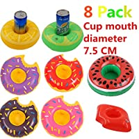 Diligencer 8 Pack Donut Inflatable Drink Holders For Pool Beach Bathtub Summer Baby Toddlers Adults Party Floating Coasters