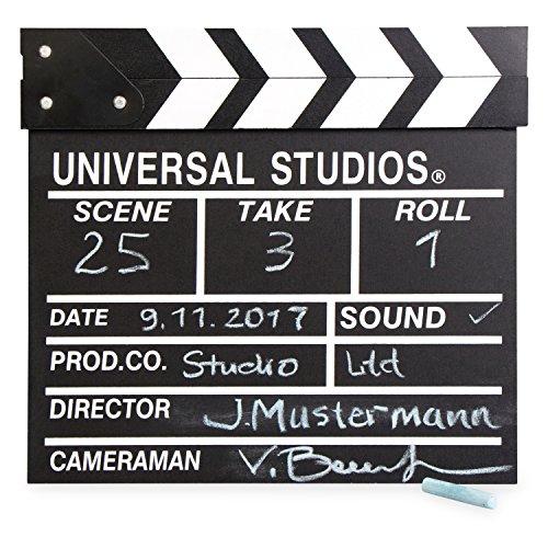 Filmklappe mit Kreide Beschreibbar - Schwarz 29 x 27 x 2 cm - Regieklappe für Kinder Filmfans Hobbyfilmer - Grinscard