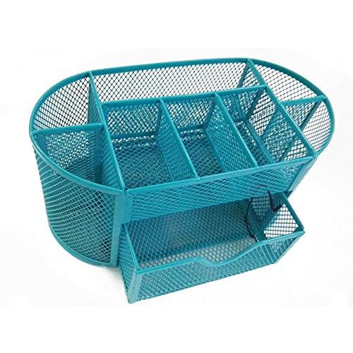 metallo penna Holder Storage Rack, scrivania da ufficio/porta pennelli/Cosmetic Organizer Box Blue