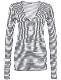 Dorothee Schumacher Mujer Stripe Up. Sudadera Grey White Stripe