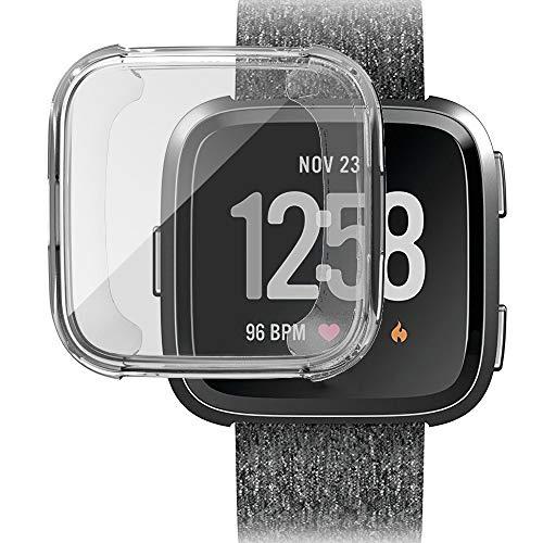 Preisvergleich Produktbild Bescita Watch Hülle Schutzfolie,  TPU Full 360 Hülle Case Zubehör Cover für Fitbit Versa (Klar)