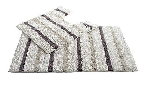 Allure Bath Fashions Sockel- und Badematten-Set - Allure Juno texturierte Chenille-Streifen,...