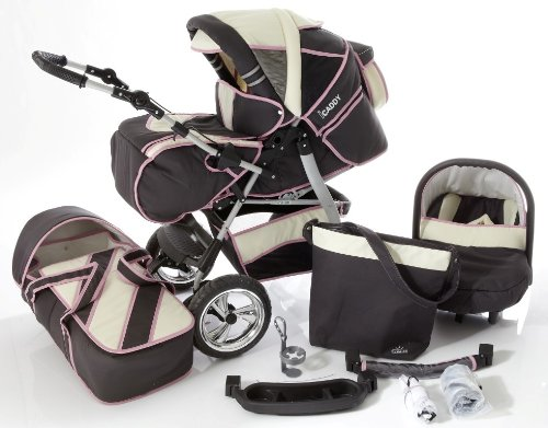 Chilly Kids iCaddy Kinderwagen Safety-Set (Autositz & ISOFIX Basis, Regenschutz, Moskitonetz, Getränketablett, Wickelunterlage) 09 Grafit & Beige & Rosa