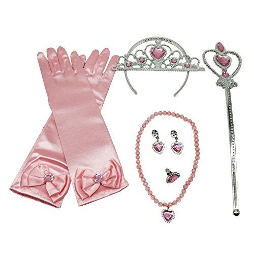 (Baoblaze 2 Teilig Prinzessin Dressing up Kostüme Set Handschuhe Zauberstab Schmuck Diadem)