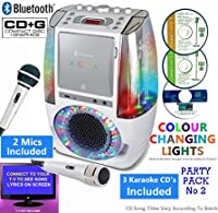 BLUETOOTH CD Player Karaoke - Classic 605 (1 M1C + 3 CDs) Home Disco Party Light �?? Boys / Girls - CDG + Format (Connect TV to display song lyrics) Link Samsung Galaxy, iPhone, iPad, Sony Xperia (Party Pack 2)
