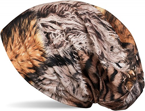 styleBREAKER Beanie Mütze mit Animal Print Optik, Leo Tiger Muster, Ziernähte, Slouch Longbeanie, Unisex 04024111, Farbe:Braun-Beige (Beanie-mütze Animal)