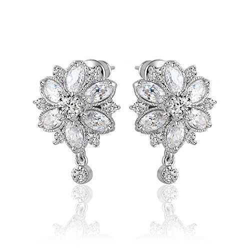 Zorah Silver Plated Flower Shaped Stud Earrings for Women embellished with AAA Cubic Zirconia Diamonds- Silver