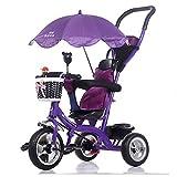 LVZAIXI 4 en 1 Smart Kids Triciclo 3 Ruedas Posición múltiple Niños Paseo del bebé en Trike Bicicleta Triciclo Bicicleta Fuera (Color : Purple 1)