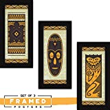 [Sponsored]Fatmug Framed Paintings For Wall -Abstract Modern Art - Set Of 3 Tribal Designs For Home And Office Decor
