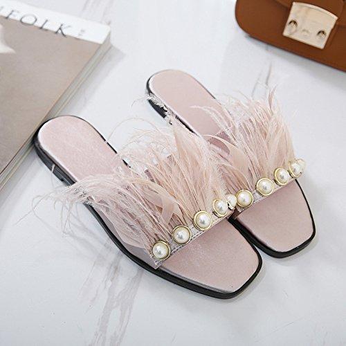 ZYUSHIZ Synthetischer Diamant coole Hausschuhe der Europäischen Frau Flach mit dem ersten Feld Hausschuhe Rutschhemmend weitergeleitet Feather Open Toe Sandalen Hausschuhe mit flachem Boden 37