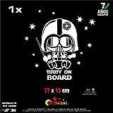 Artstickers Pegatina Baby on Board Darth Vader, Pegatina Bebe a Bordo. Color Blanco- 1Und. 17 cm x 15 cm, con 12 Estrellas para Libre colocación Regalo Adhesivo Spilart, Marca Registrada
