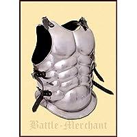 Muscular tanque en pecho y espalda de acero pulido, placa de armadura tanque LARP Vikingo Medieval