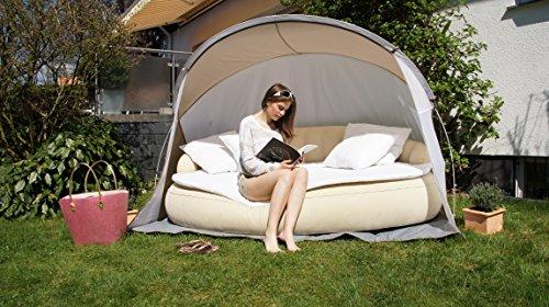 Dekovita Air-Lounge 220x130cm aufblasbare Sonneninsel inkl. Auflage Kissen Sonnendach 2-3 Personen Liege bis 200KG Beige - 3