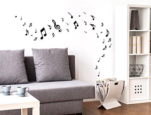 I-love-wandtattooo was-10144 - set di adesivi da parete per camera bambino, nota musicale in nero, 35 pezzi