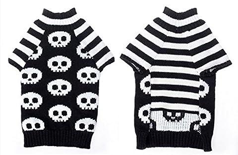New Autumn Winter Pet Dog Skeleton Stripe Acrylic Thicken Warm Sweater Two Legs Suits 5 Sizes (XS)