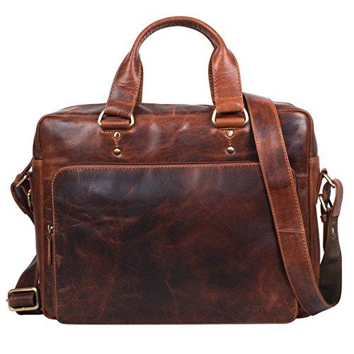 STILORD 'Joshua' Vintage Businesstasche Leder braun groß Herren Laptoptasche 13.3 Zoll Bürotasche Aktentasche Dokumententasche Umhängetasche echtes Leder, Farbe:siena - braun