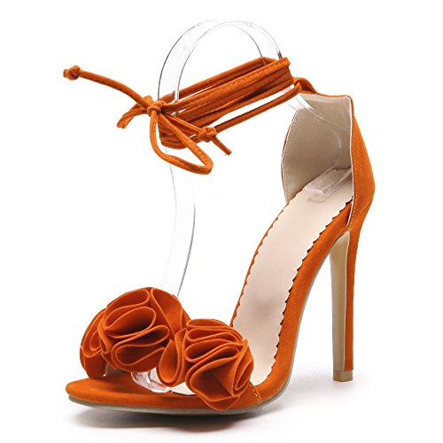 Damen Peep Toe High Heels Blumen Lace UP Barely There Stiletto Abend Party Prom Sandalen,Orange-EU36=230 -