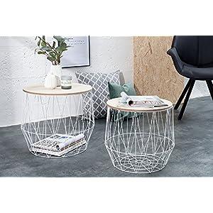 DuNord Design Beistelltisch Korb Metall rund 2er Set Couchtisch Arezzo weiß Eiche Tisch Ablage