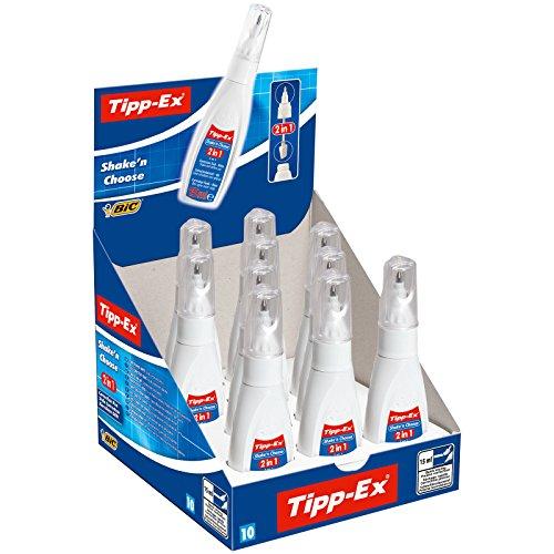 Tipp-Ex Korrekturstift Shake´n Choose 2 in 1, 15 ml, Displaybox à 10 Stück,  weiß