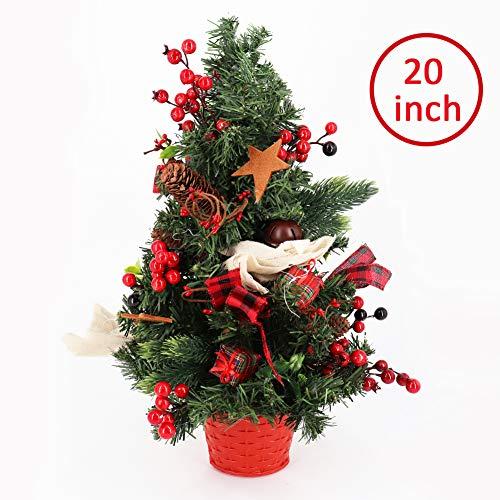 50cm Künstlicher Weihnachtsbaum, Kleine Unechter Tannenbaum Komplett Geschmückt mit Tannenzapfen, Beeren, Glocke und Fliege in einem Korb, für Home Party Dekoration Winter Erste Feiertag Bescherung