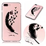 Coque iPhone 7 Plus Mosoris iPhone 8 Plus Souple Housse Etui - TPU Silicone Clair Transparente Case Cover Housse Ultra Mince Premium Soft Skin Extra Slim TPU Case Étui [Anti Choc] [Anti-rayures] pour Apple iPhone 7 Plus / 8 Plus (5.5 Pouces) , Peint Motif de Plume