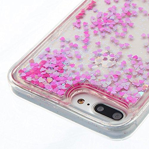 iPhone 7 Plus Hülle, Voguecase Flüssig Schwimmend Treibsand Glitzer Bling Silikon Schutzhülle / Case / Cover / Hülle / TPU Gel Skin für Apple iPhone 7 Plus 5.5(Rose Gold Herz) + Gratis Universal Einga Pink kleine Liebe