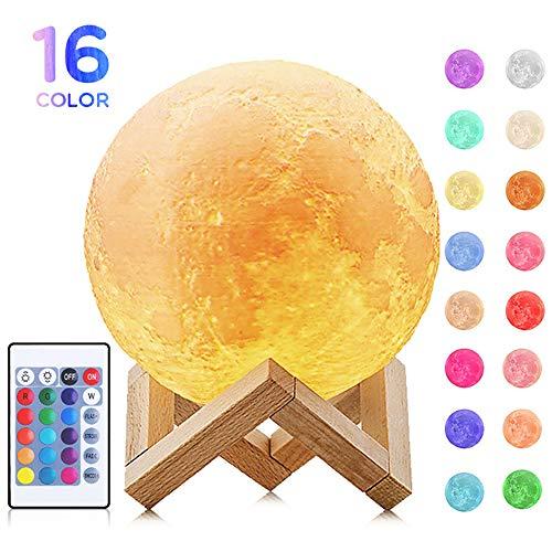 Local Makes A Comeback Mondlicht, Mondnachtlicht, 3D 5.9 Zoll Mondlampe mit Halterung 16 Farben warmes und frisches Licht Fernbedienung und Touch Control Mondlicht