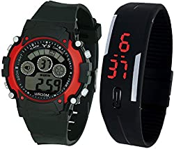 Pappi Boss Sports Watch Collections - Digital Black-Red Dial Sports Watch & Unisex Silicone Black Led Digital Watch for Boys, Girls, Men, Women & Kids