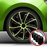 Autoteppich Stylers Bundle Aktion 16 Zoll Radkappen/Radzierblenden 002 Bicolor (Schwarz-Grün) passend für Fast alle Fahrzeugtypen – universal