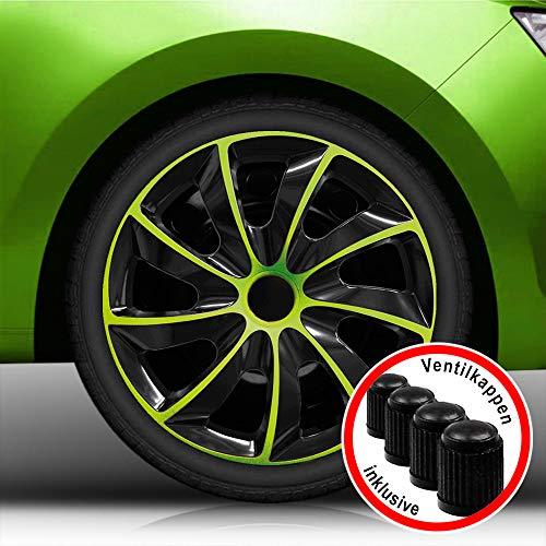Eight Tec Handelsagentur (Größe wählbar) 16 Zoll Radkappen/Radzierblenden Quad Bicolor (Schwarz-Grün) passend für Fast alle Fahrzeugtypen – universal