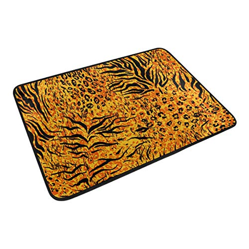 FANTAZIO Fußmatten für Eingangsbereich im Freien, Tier-Tiger, gelbe Haut, gerade, Teppich-Greifer für Küche/Bad, 59,9 x 39,9 cm - Tier-haut-teppich