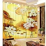 MSCLY 3D Vorhänge Lotus Blätter Lotus Blackout Jalousien Vorhänge Luxus Vorhänge Für Wohnzimmer Fenster Dekoration H200Xw240Cm
