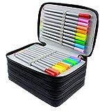 Feelily, astuccio portamatite, con 72scomparti, capacità molto ampia, multi-strato, per la scuola o come astuccio per i trucchi (matite non incluse) Black
