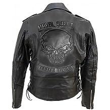 Blouson moto cuir homme avec tete de mort