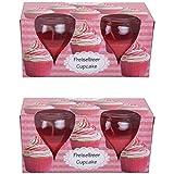 HScandle 4 Duftkerzen Spar-Pack Auswahl: Preiselbeer - Cupcake (2x2er Pack)