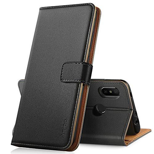 Anjoo Coque Compatible pour Xiaomi Redmi Note 6 Pro, Housse en Cuir avec Magnetique Premium Flip Case Portefeuille Etui Compatible pour Xiaomi Redmi Note 6 Pro, Noir