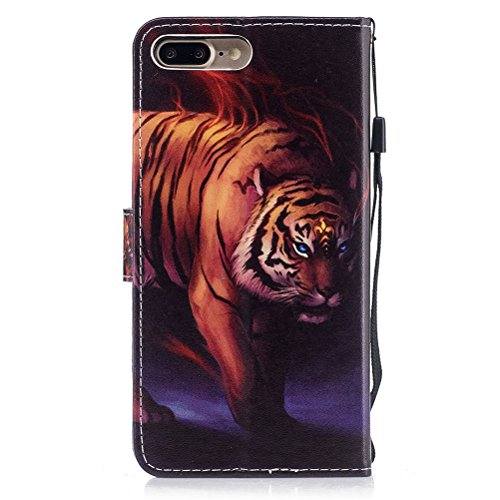 Custodia iPhone 7 Plus, iPhone 8 Plus Cover Wallet, SainCat Custodia in Pelle Flip Cover per iPhone 7/8 Plus, Ultra Sottile Anti-Scratch Book Style Custodia Morbida Cover Protettiva Caso PU Leather Cu Tigre