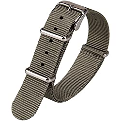 Grey Nylon Fabric Canvas Wristwatch Band Woven Nylon Watch Strap Army Military Watchband 18mm Width