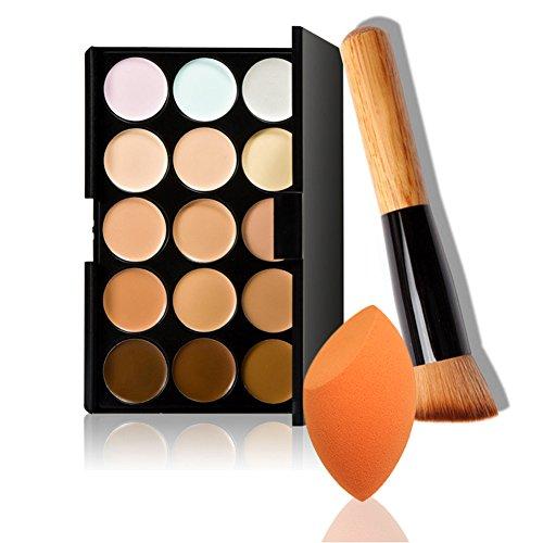 Dolovemk 15 couleurs maquillage Contour Crème visage Concealer Palette + Brosse de Poudre + Beauté Oeuf