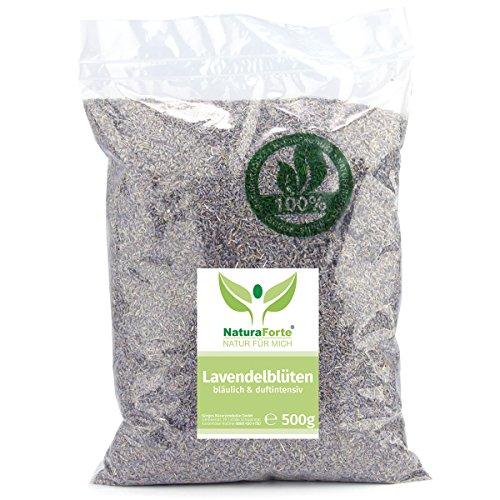 Preisvergleich Produktbild NaturaForte Lavendelblüten 500g Lavendel ohne Zusätze - Bläulich - Intensiver Duft - Getrocknete Lavendel Blüten - Für Duftkissen, Lavendeltee oder Lavendelsäckchen - Potpourri Duft