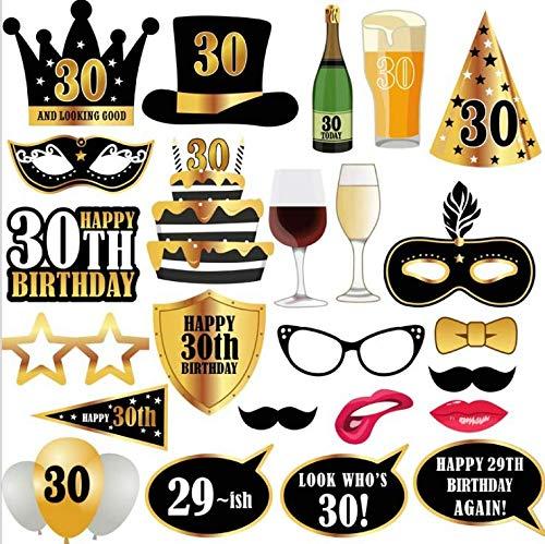 thematys Dreißigster 30. Geburtstag Party Deko Fotobox - Photo Booth Foto-Requisiten & Foto-Accessoires - für witzige & unvergessliche Bilder - 25-teilig (Geburtstag Booth-requisiten Photo)